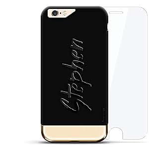设计师手机壳LUX-I624K360-NMSTEPHEN1 Stephen, Hand-Written First Name Velvet Black & Gold