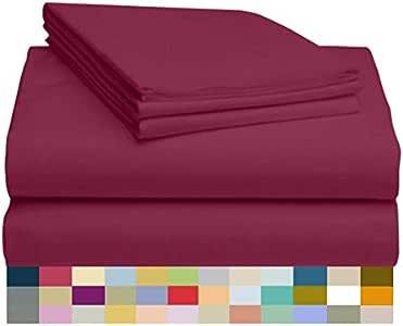 LuxClub 竹制床单6件套,18英寸(约45.7厘米)深口袋床单,环保,无褶皱,防*,*,吸湿排汗,防褪色,丝滑,环保产品 酒红色 两个