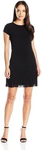 Calvin Klein 女士小号盖袖 T 恤针织连衣裙 黑色 12 Petite