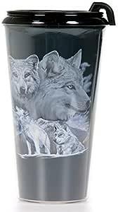 保温咖啡旅行杯 453.59 毫升带盖子 - 杯子 - 旅行杯 - 回地系列 狼 BIF15060