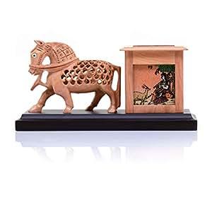 木质雕刻笔筒(动物形象)Curio 4 Inch 天然棕色