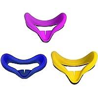 MASiKEN 2 件装硅胶面罩 适用于 Oculus Quest 高级面罩 & 面罩垫 防汗可洗 Purple+Blue+Yellow
