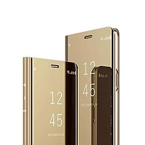 HMTECHUS Y7 Prime 2019 手机壳 3D 卡通动物图案可爱 PU 高级皮革钱包翻盖卡槽防震磁扣保护套适用于华为 Y7 2019 / Enjoy 9 / Y7 Pro 2019. F] Plating Mirror:golden
