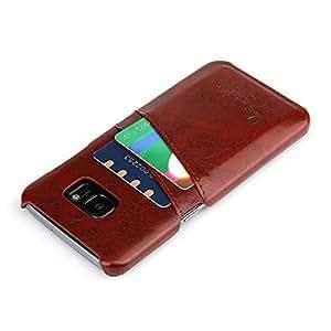 PluStore(TM) 合成 PU 皮革背面 2 卡槽手机壳适用于三星 Galaxy S7 Edge 棕色