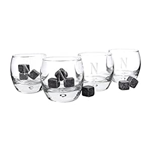 Personalized Heavy Based Whiskey Glasses with Whiskey Soapstones, Letter N