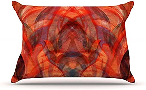 """Kess InHouse Theresa Giolzetti """"Seaweed Red"""" Orange Abstract Pillowcase, 30 by 20-Inch"""