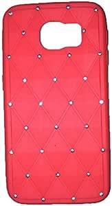 Galaxy S6 手机壳,Newstore 水钻闪亮橡胶 TPU 硅胶软壳手机壳三星 Galaxy S6 免费包装附赠 Newstore 商标礼物,不适合 Galaxy S6 Edge 红色