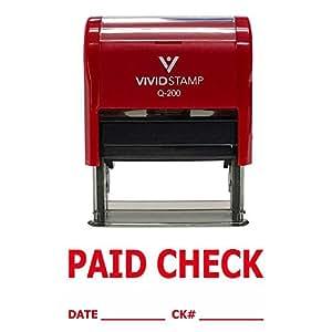 PAID CHECK w/DATE CK# Line 自动充墨橡胶印章