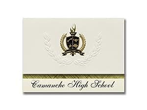 标志性公告 Camanche 高中(加利福尼亚州,IA)毕业公告,总统风格,25 片精英包装带金色和黑色金属箔封条
