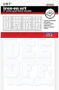 运动熨烫字母 白色 2英寸 Sport Flock Letters