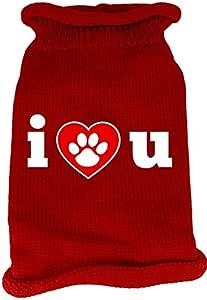 Mirage Pet Products I Love You 丝网印花针织宠物毛衣 红色 中