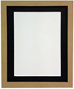 Frames By Post 18mm Wide H7Oak Picture Photo Frame with Black Mount 25mm wide
