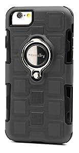 maxessory [ scout ] 薄刚性 TOUGH 防护覆盖 W/expanding kickstand 戒指组合 impact-guarding reinforced 保险杠父适用于苹果 iPhone 6s / 7/ 825.4CM) 保护套 Gray Black