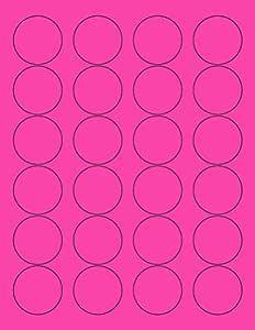 "8-1/2 x 11 英寸 霓虹色高光荧光标签适用于激光和喷墨打印机 1.66"" Round - 24 Per Page   600 Labels 粉色荧光色"