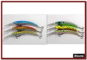 Akuna Pack of 6 Hypnotizer Series 5.9 inch Deep Diving Fishing Lure [BP 6 FLA 82 D]