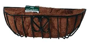 Bosmere F915 24 英寸钢杆车窗篮,带预成型*椰子衬垫和土壤湿润水垫