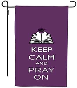 Rikki Knight Keep Calm and Pray on 紫色设计装饰房或花园全出血旗,30.48 x 45.72 cm