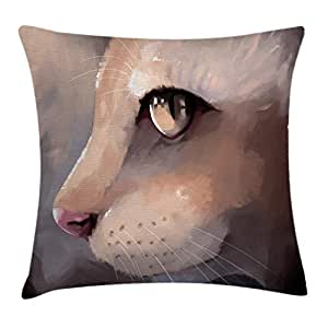 """Ambesonne 猫抱枕枕套,插图 猫肖像猫咪变焦脸大眼 Whiskers Meow 现代艺术设计,装饰方形装饰枕套,奶油色 Multi 1 18"""" W By 18"""" L min_15578_18x18"""