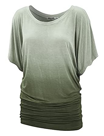 LL Womens Short Sleeve Oversized Ombre Tie-Dye Tee Shirt - Made in USA  Wt1052_olive Large