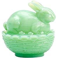带盖玻璃兔子篮子餐盘 - 绿色绿色,美国 Mosser 制造