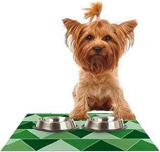Kess Inhouse 凯瑟琳麦克唐纳绿 城市宠物碗喂食垫,18 x 13 英寸