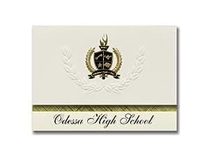 """标志性公告奥柏林高中(俄亥俄州奥柏林)毕业公告,总统风格,精英一包 25 个,带金色和黑色金属箔印章 Odessa High School (Odessa, TX) 6.25"""" x 11.44"""" 奶油色"""