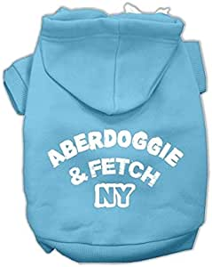 "Mirage Pet Products 16"" Aberdoggie NY 丝网印花宠物连帽衫 浅蓝色 X大码"
