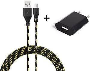 适用于 HTC One Mini 2 智能手机 Micro-USB 数据线 3 米充电器 + USB 电源插头 壁挂安装 安卓通用(黑色)