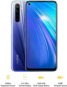 "realme 6-8GB + 128GB, 6.5"" Ultra smooth display, Sim Free, 64MP AI Quad Camera, UK version - Comet Blue"