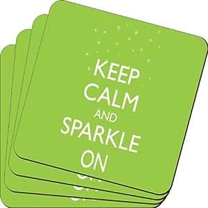 Rikki Knight Keep Calm and Sparkle on Lime *设计柔软方形啤*杯垫(2 件套),多色