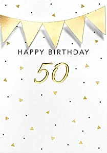 50 岁生日贺卡 黑色&金色 - 三角形链 - 11.6 x 16.6 厘米