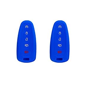 BAR Autotech ® 遥控钥匙硅胶无钥匙入口外壳适用于 C Max Edge Escape Titanium Explorer Flex Focus Taurus Lincoln MKT 导航器(1 对) F 2. Blue/Blue
