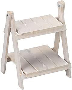 丸和贸易 花架 橡胶木 2层架子 白色 100360801