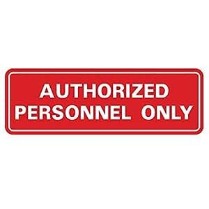 """标准*人员 ONLY 门/墙壁标志 2-3/4"""" x 7"""" - Medium 红色"""