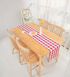 Nobildonna 格子花纹桌布和桌垫,优质涤纶餐桌 红色 Table Runners