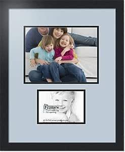 ArtToFrames 拼贴照片框双垫,带 2 个开口,黑色缎框 浅蓝色 1-5x7, 8.5x11 Double-Multimat-254-860/89-FRBW26079