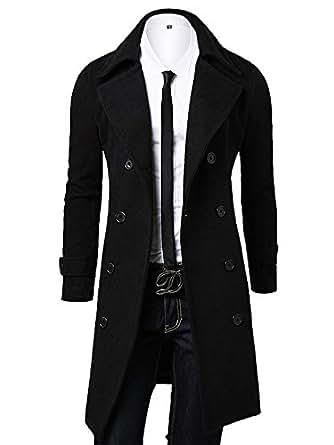 ochenta 男式双排扣翻领修身毛呢大衣 黑色 Asian 4XL - US XL+