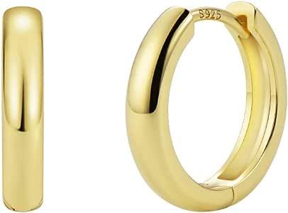 小环形耳环 14k 镀金纯银柱方晶锆石 CZ 耳环,0.57 英寸