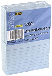 Idena 卡片DIN A8,横线,200张,180 克/平方米 DIN A8 liniert, blau