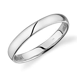 10K 黄金或白色或玫瑰金轻巧舒适合手3MM 结婚戒指