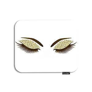 Moslion 睫毛鼠标垫女士*长睫毛化妆金闪粉眼影游戏鼠标垫橡胶大鼠标垫 适用于电脑桌 笔记本电脑 办公室 工作 7.9x9.5 英寸 7.9 * 9.5 Inch A-01