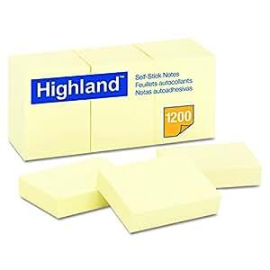 Highland 6539 自粘便签,3.49 cm x 4.76 cm,黄色,每张 100 张(12 包) 1-1/2 x 2 in 黄色