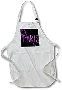 """3dRose apr_167932_1 The Word Paris in Purple Full Length Apron, 22 by 30"""", White, with Pockets"""