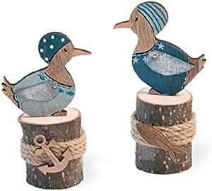 庆祝 Home Pier Pair Seagull 海盗雕像装饰,2 件套