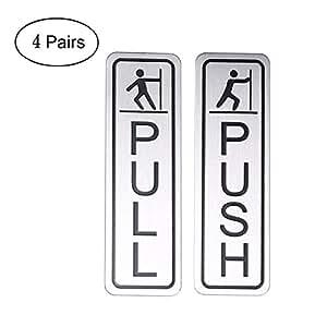 Do4U 5.08 厘米拉丝不锈钢圆形优质水平推拉门标牌 - 不锈钢 Vertical Square-4 Pair