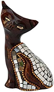 """SouvNear SCARY Meow Statue - 2.3"""" Brown Wooden Cat Statue UNIQUE MIRROR WORK Hand-Carved Beaded Figurine"""