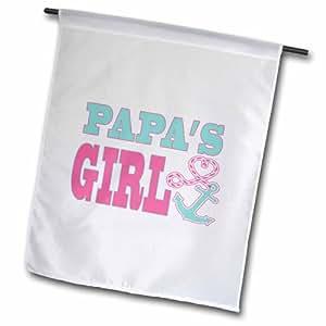 3dRose fl_165888_2 爸爸女孩可爱锚和心形绳粉色和水绿色花园旗,45.72 x 68.58 cm