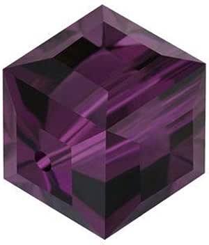 施华洛世奇诞生石立方体水晶珠耳环手镯脚链项链 钥匙扣 首饰制作用品 紫水晶色 4mm (Small beads)