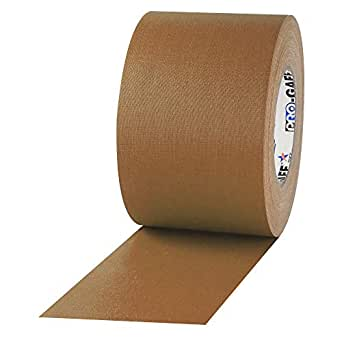 """4"""" Width ProTapes Pro Gaff Premium Matte Cloth Gaffer's Tape With Rubber Adhesive, 11 mils Thick, 55 yds Length, Tan (Pack of 1)"""