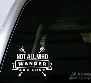Salt City Graphics Not All Who Wander are Lost 贴花 5 inches wide 白色 NOTALLWHO-5WH